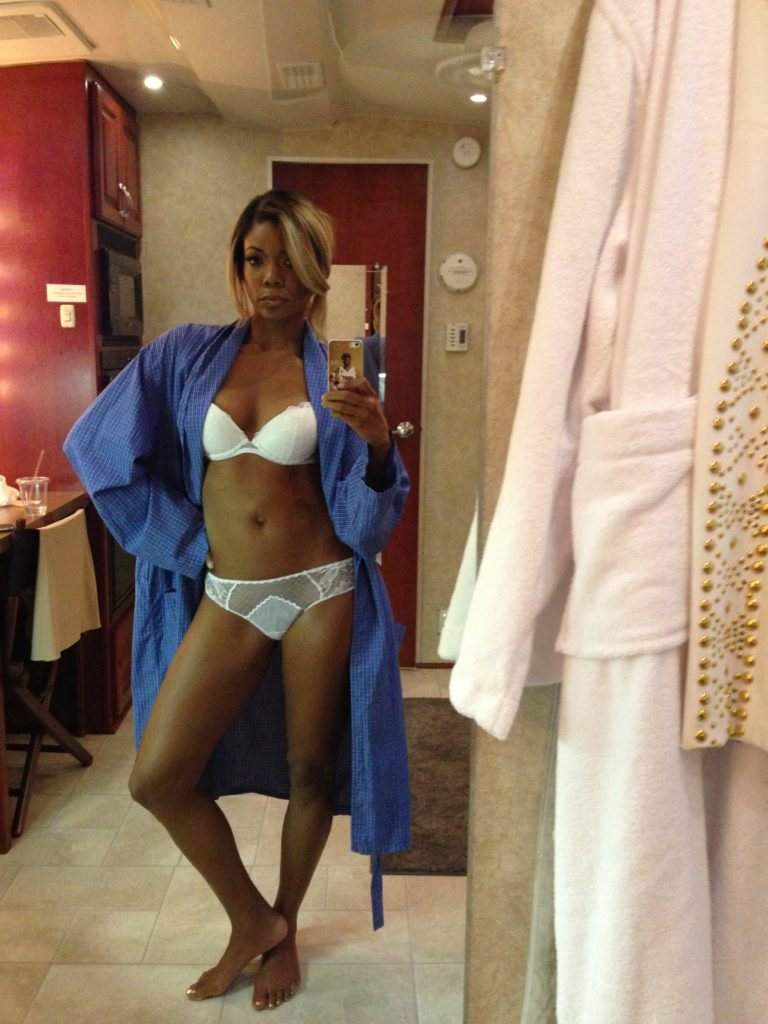 icloud hacked pic of gabrielle union showing off her hot figure in sexy white lingerie