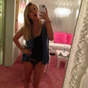 fappening selfie of kaley cuoco in thong and jean vest