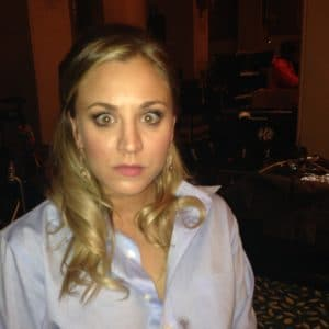 hacked kaley cuoco pic of her in a light blue shirt