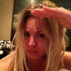 kaley cuoco giving a pouty look