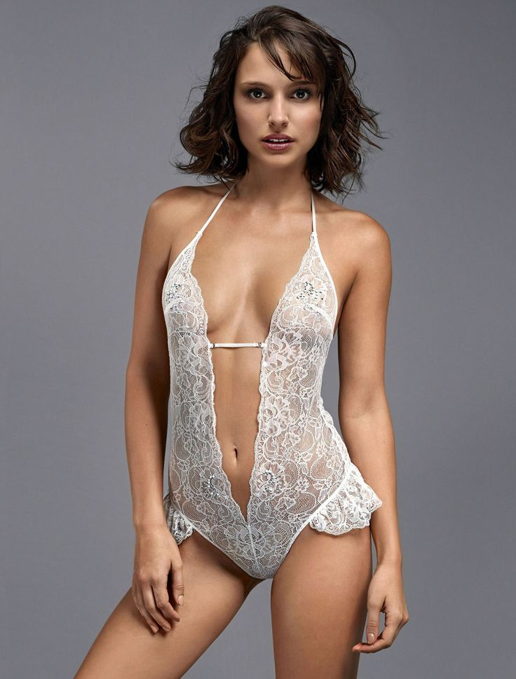 The celeb Natalie Portman in white lace bodysuit