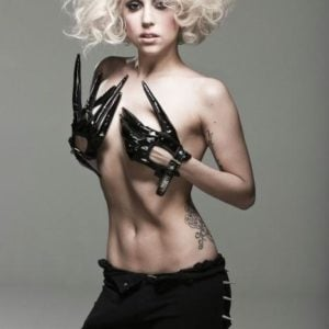 Lady gaga topless with black gloves on
