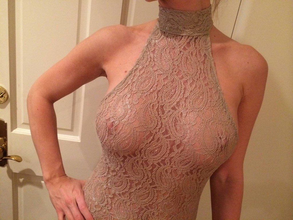 The sensual Joanna Krupa in lace top with nipples showing through