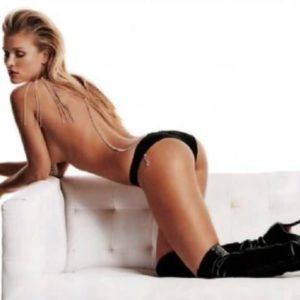 The heavenly Joanna Krupa in black boots and black underwear