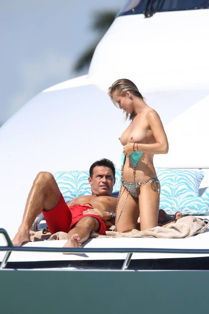 The bomb shell Joanna Krupa topless on a yacht