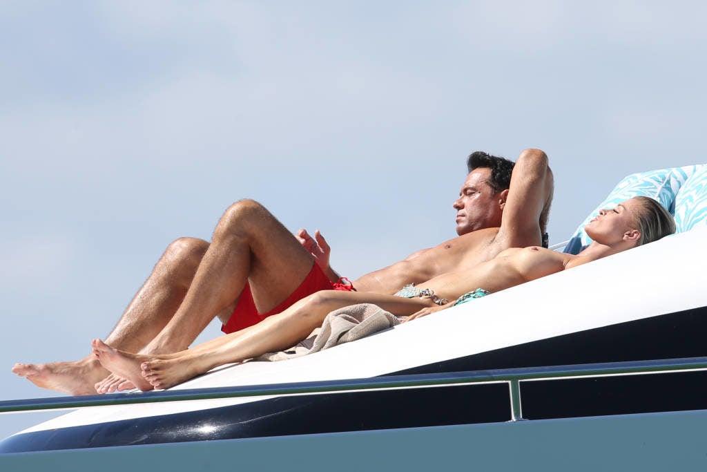 The model Joanna Krupa sunbathing in the nude on a boat