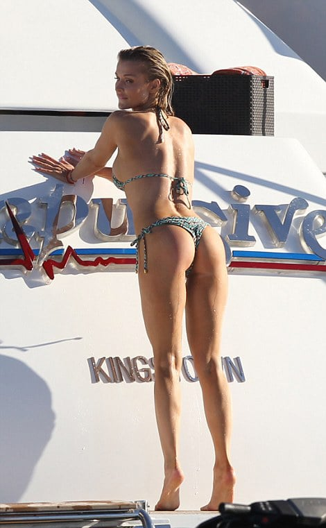 The famous Joanna Krupa showing her ass off on a yacht