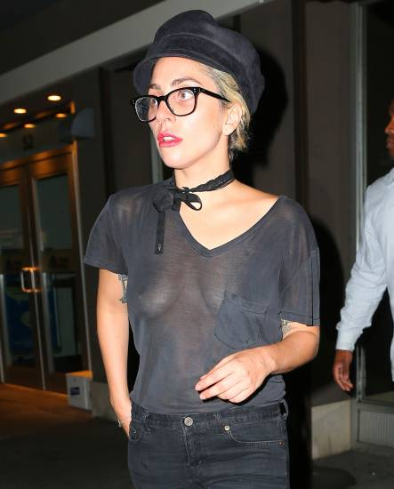close up photo of lady gaga's nipples in see through black top
