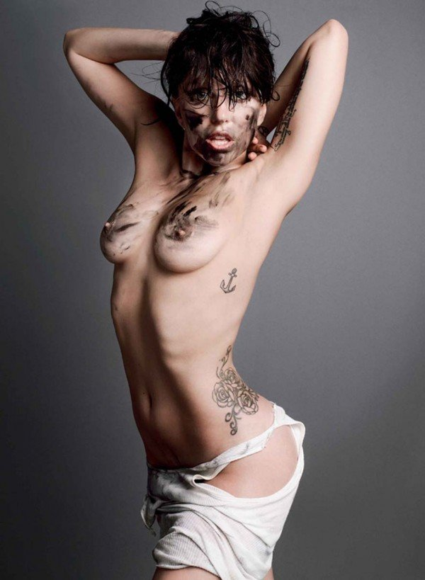 the sultry Lady Gaga topless with oil on her face