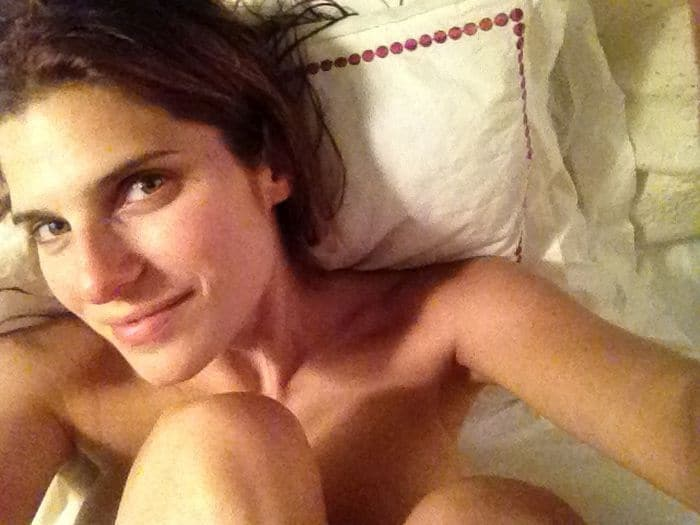 Lake Bell naked in bed knees up