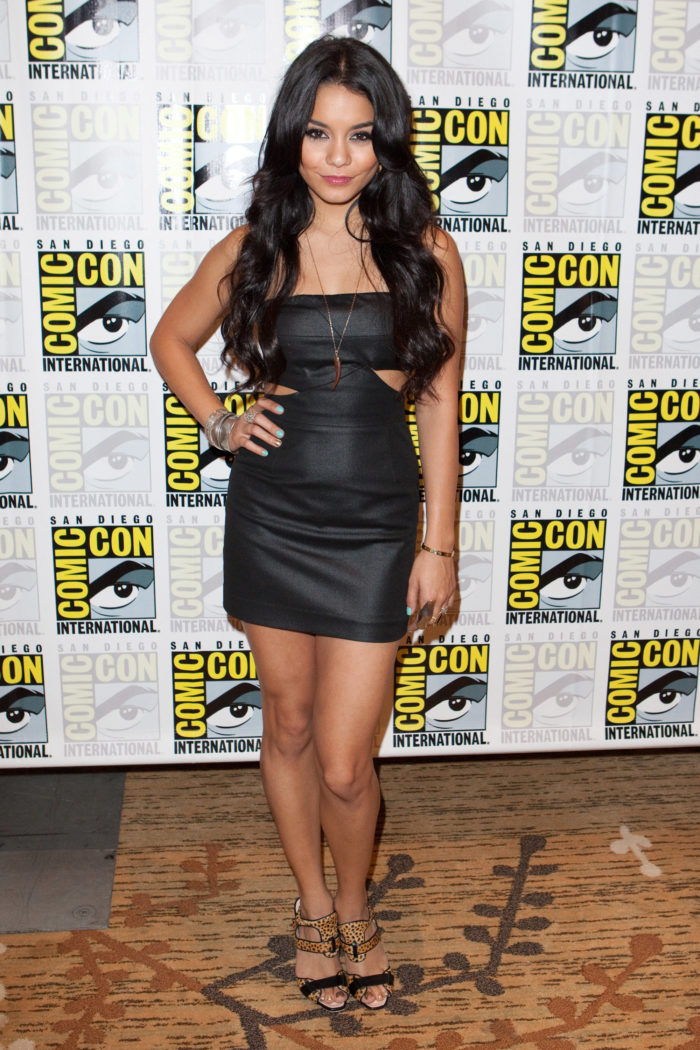 Vanessa Hudgens in tight black dress showing her nice tanned legs