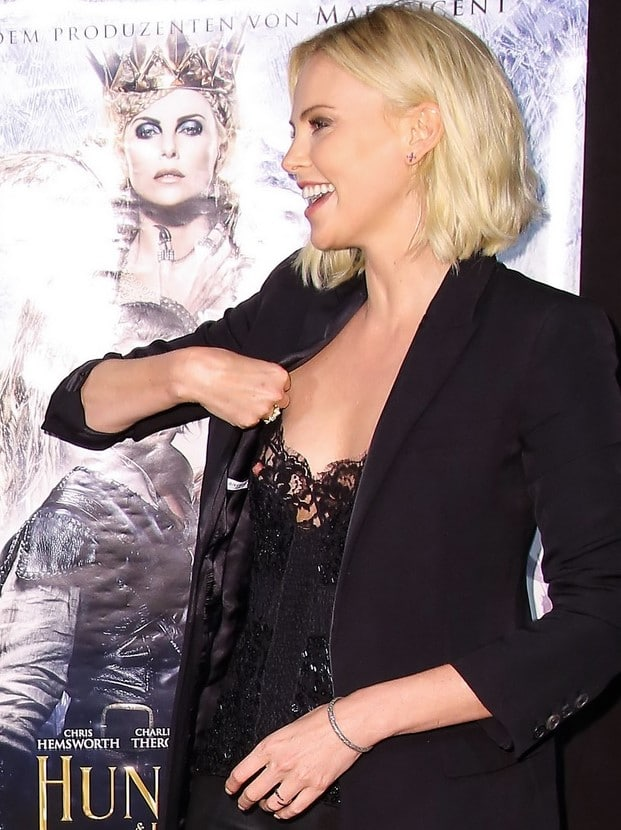 Actress Charlize Theron nipple exposed at The Huntsman Winters War premiere in Germany