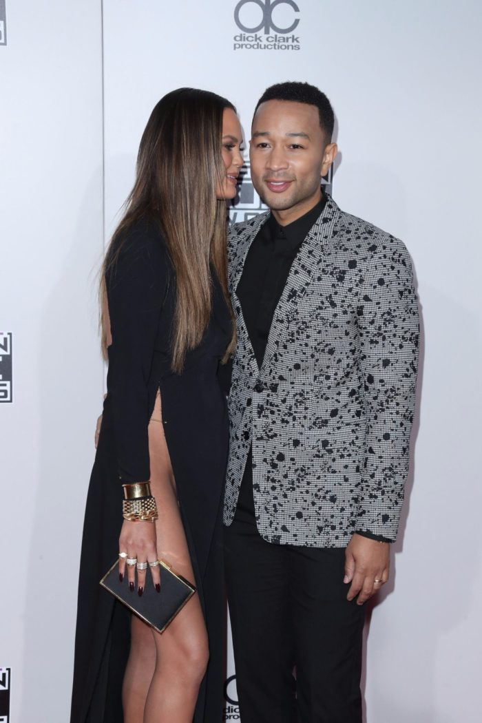 John Legend and his wife Chrissy Teigen at American Music Awards 2016