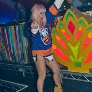 Lily Allen dancing in jersey and high heels by herself at Funlord show