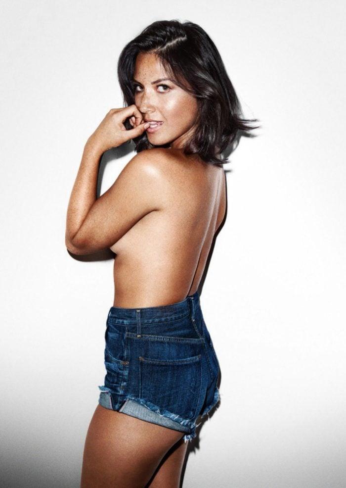 Olivia Munn topless jean shorts