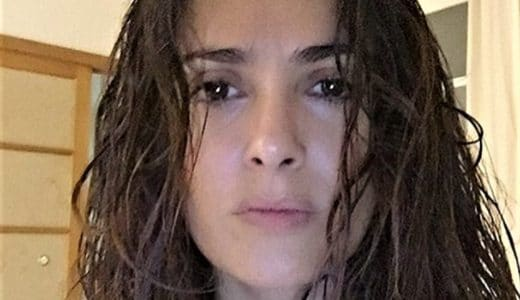 Selfie photo of Salma Hayek with curly hair