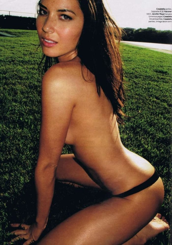 Super hot photo of Olivia Munn topless modeling on grass