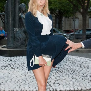 Wardrobe malfunction of Elizabeth Olsen's skirt going up in the wind