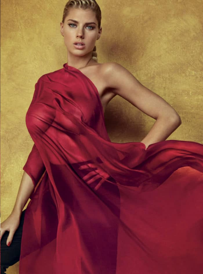 busty charlotte mckinney modeling for gq mexico magazine in red sheet outfit