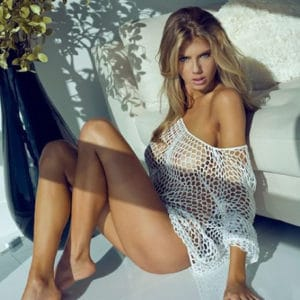 curvy charlotte mckinney models for megan claire and shows off her sexy legs