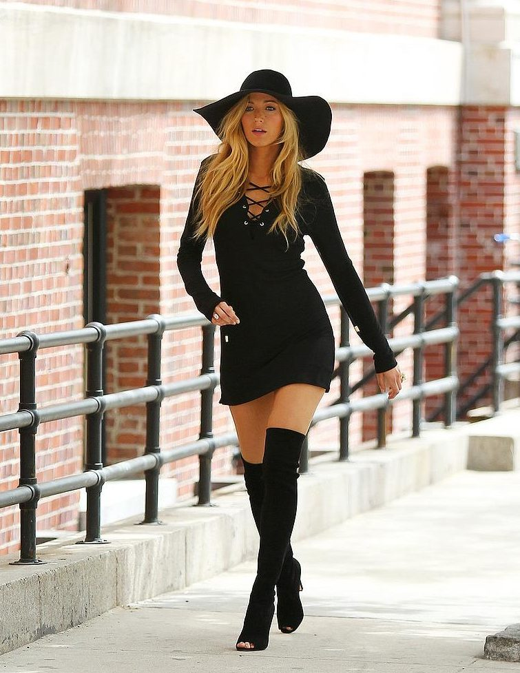 damn beautiful photo of blake lively walking in high thighs boots in nyc