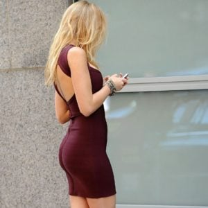 gorgeous blake lively in mini dress with high heels on showing off that beautiful ass