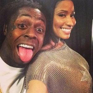 pic of Nicki Minaj taking a selfie with Lil Wayne sticking out his tongue