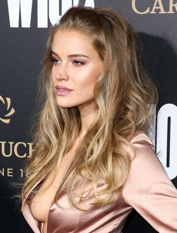 model Charlotte McKinney suffers nip slip at the beach