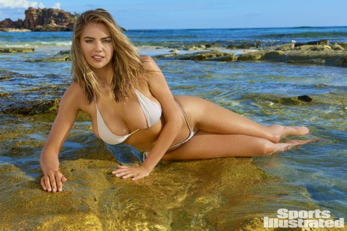 2017 SI swimsuit edition Kate Upton models a bikini in the ocean