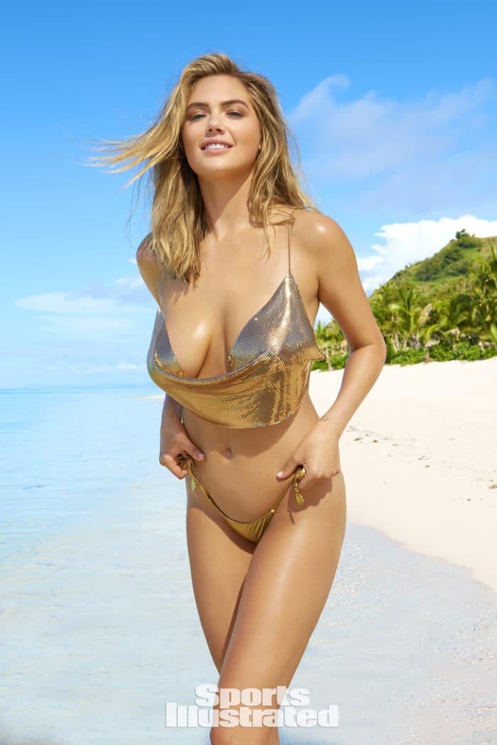 2017 Sports Illustrated photo of Kate Upton in golden bikini on the beach