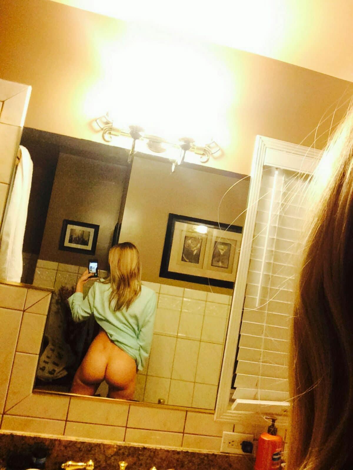 AJ Michalka exposing her ass in the bathroom