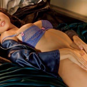 Amanda Cerny touching her self in a purple bra