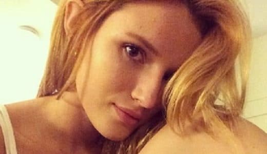 Bella Thorne sexy selfie with knees up to her face