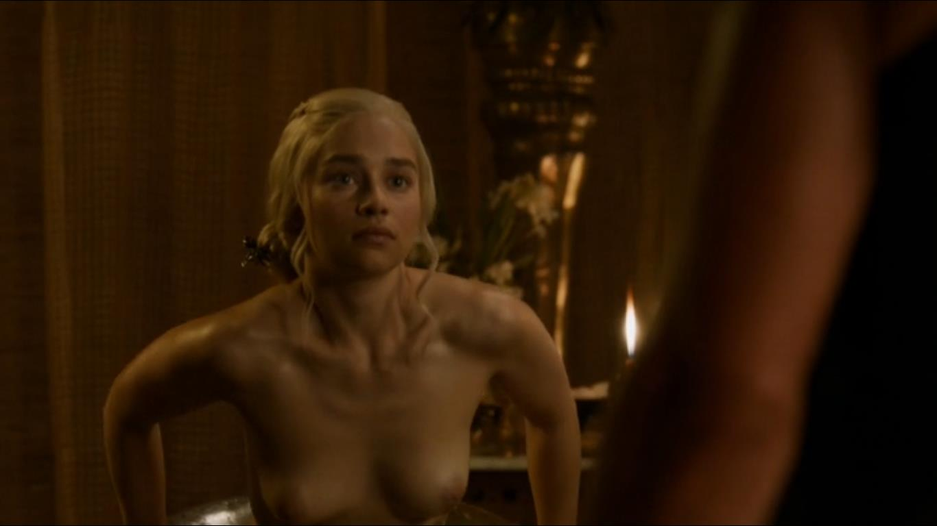 Emilia Clarke topless about to sit in tub