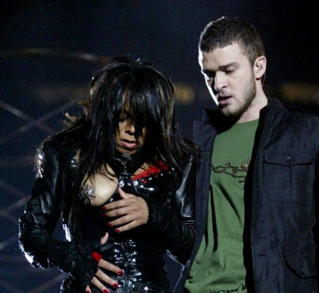 Janet Jackson famous superbowl nip slip while singing with Justin Timberlake
