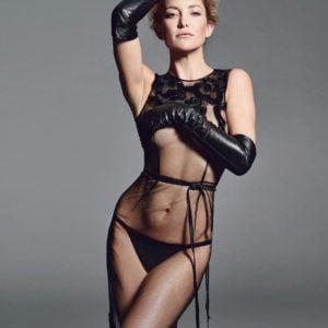 Kate Hudson in black sheer dress cover boob