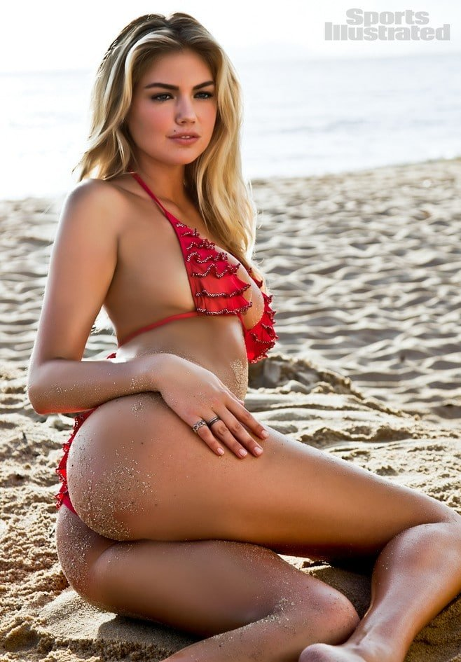 Kate Upton 2012 Sports Illustrated photoshoot in red bikini showing her ass cheeks