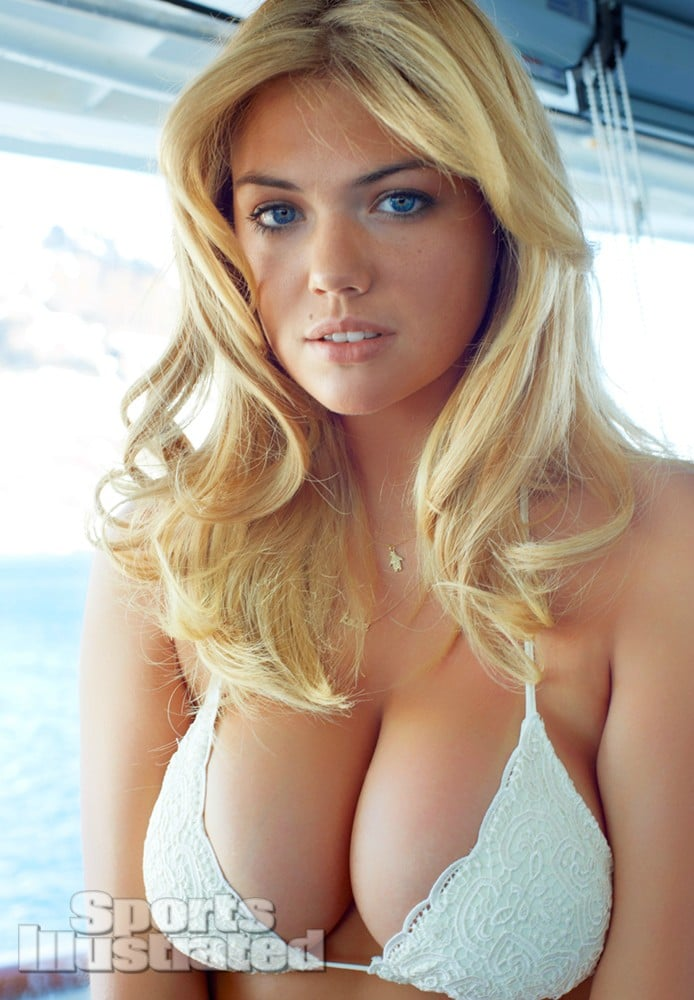 Kate Upton big tits in white bikini for Antartica photoshoot