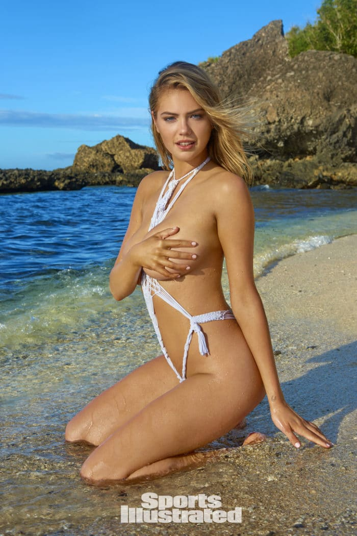 Kate Upton covers her tit with one hand while wearing skimpy swimsuit for Sports Illustrated 2017