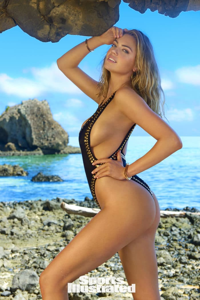Kate Upton in sexy black one piece modeling for Sports Illustrated 2017