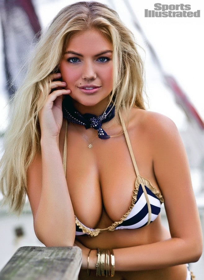 Kate Upton in striped bikini top with scarf on modeling for SI