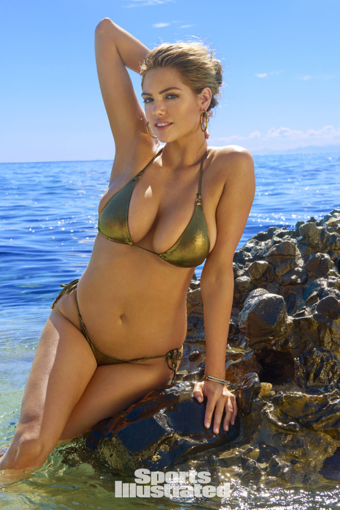 Kate Upton modeling on a rock in Fiji for Sports Illustrated 2017 spread