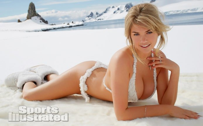 Kate Upton modeling on snow with snow boots on