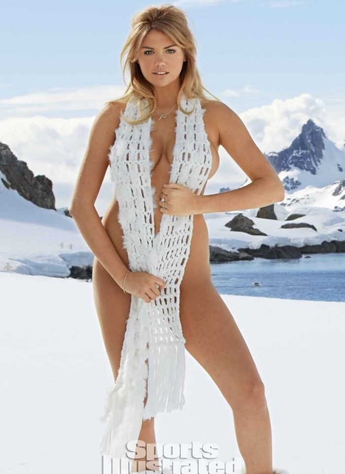 Kate Upton naked covering herself with scarf in 2013 SI Antartica photoshoot