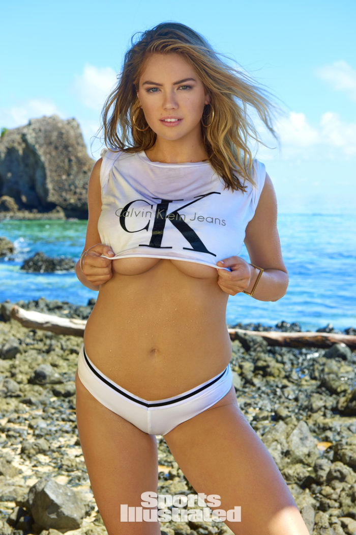 Kate Upton showing some under boob in CK tshirt