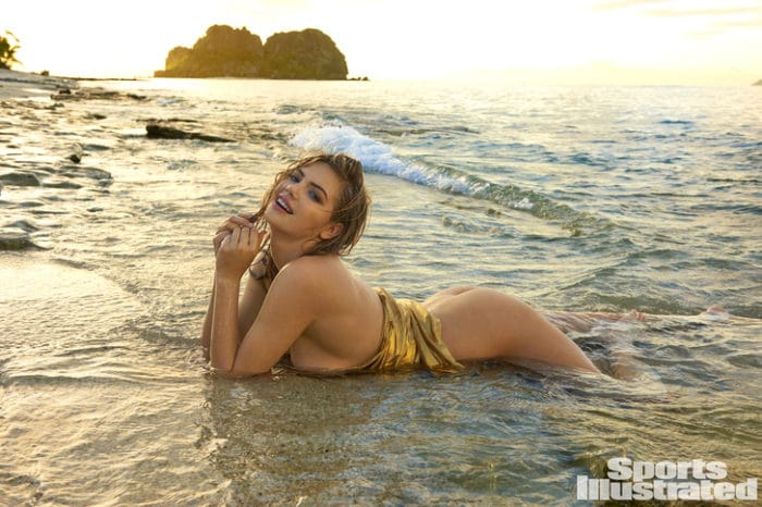 Kate Upton topless in Fiji with boobs in the sand