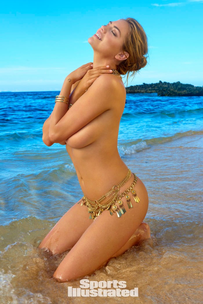 Kate Upton topless wearing a golden bikini bottom on her knees