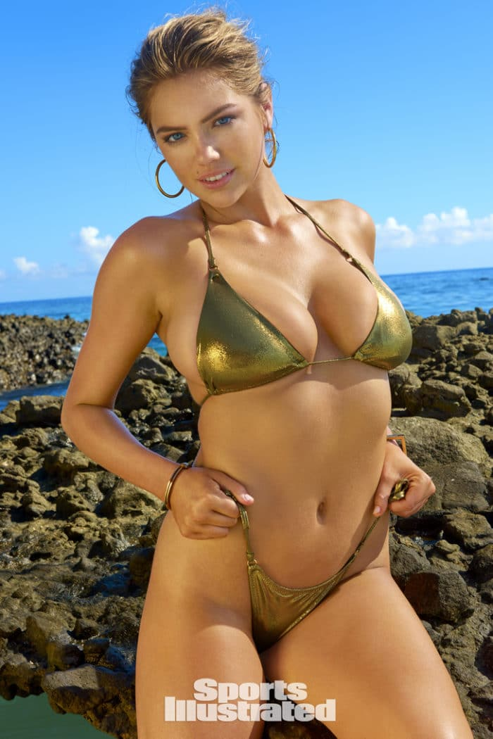 Kate Upton wears shiny gold bikini while modeling in Fiji