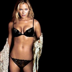 Kristanna Loken in black lingerie with a white shawl