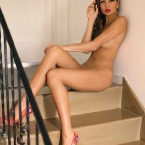 Lili Simmons totally naked sitting on stairs in heels